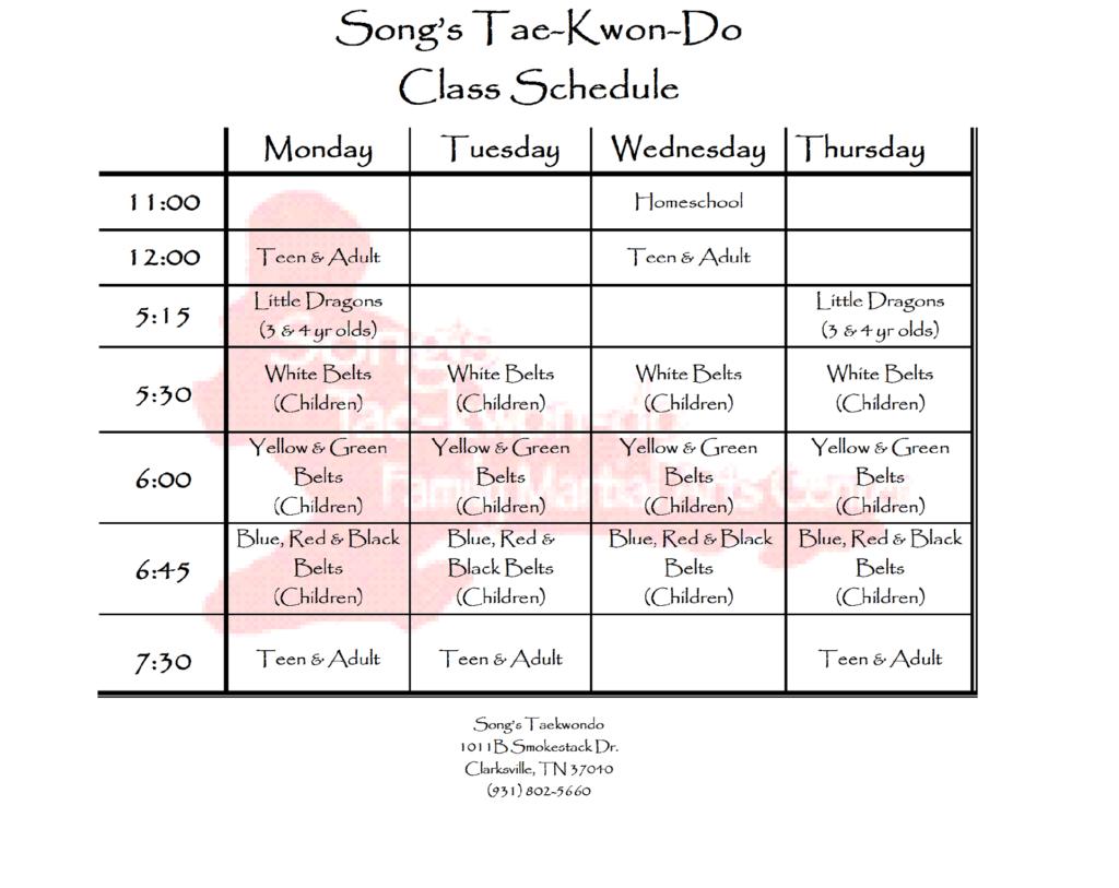 Clarksville Schedule